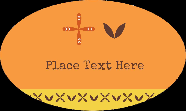 "1½"" x 2½"" Oval Glossy Label - Geometric Orange Blossoms"