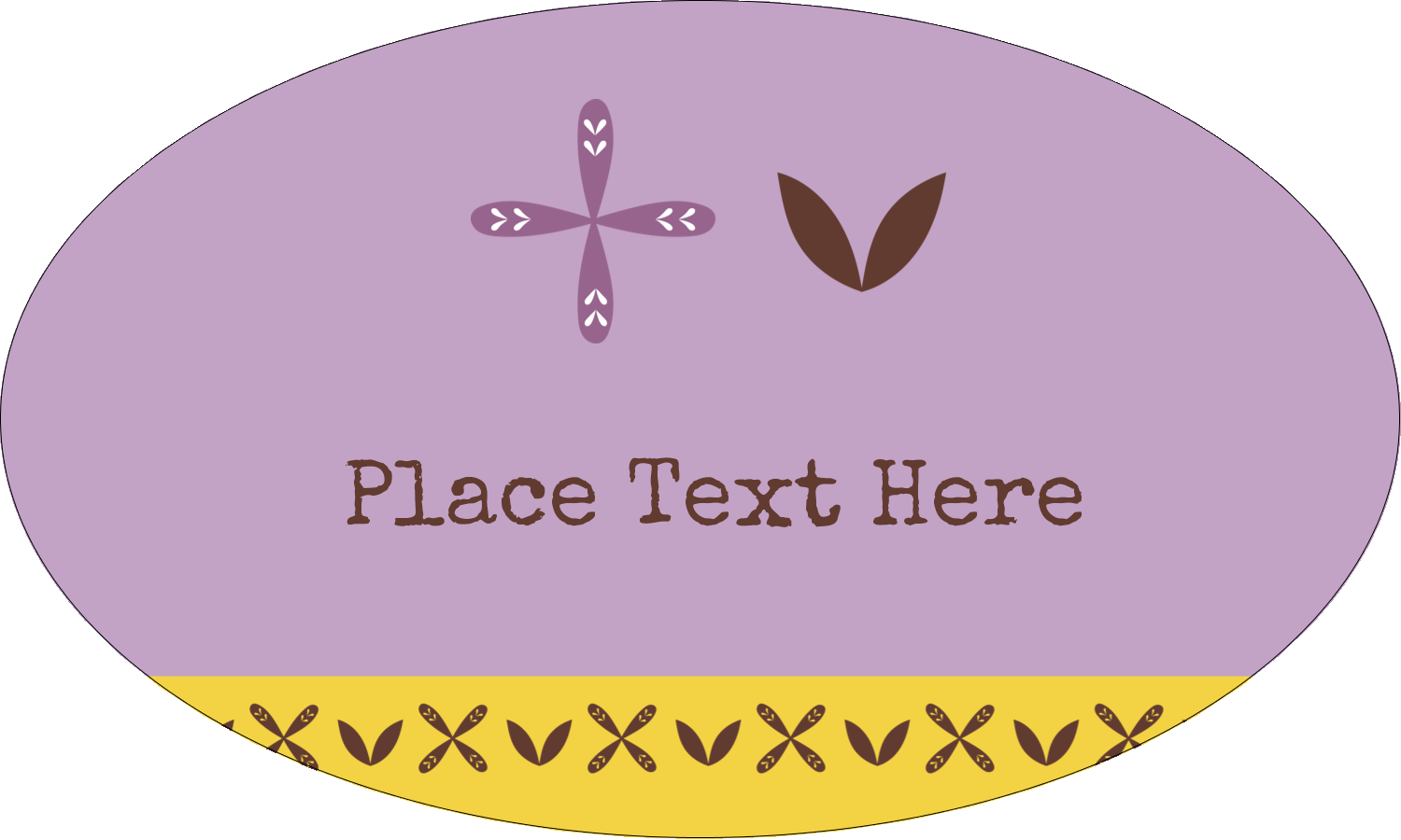 "1½"" x 2½"" Oval Glossy Label - Geometric Lavender Blossoms"