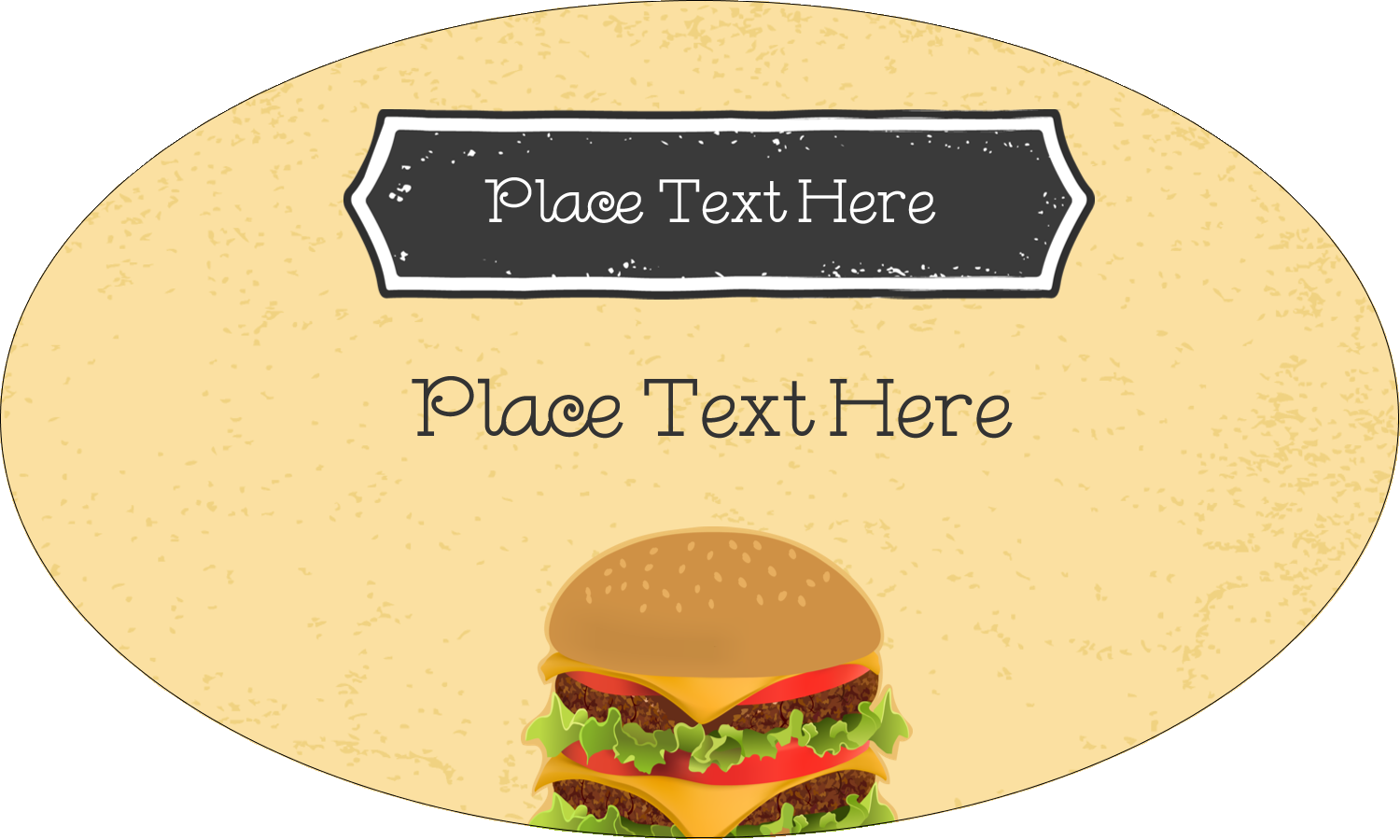 "1½"" x 2½"" Oval Glossy Label - Burger"