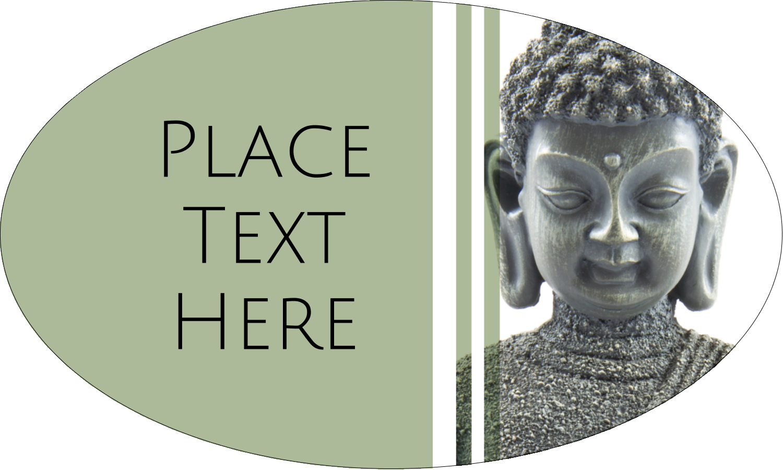 "1½"" x 2½"" Oval Glossy Label - Buddha"