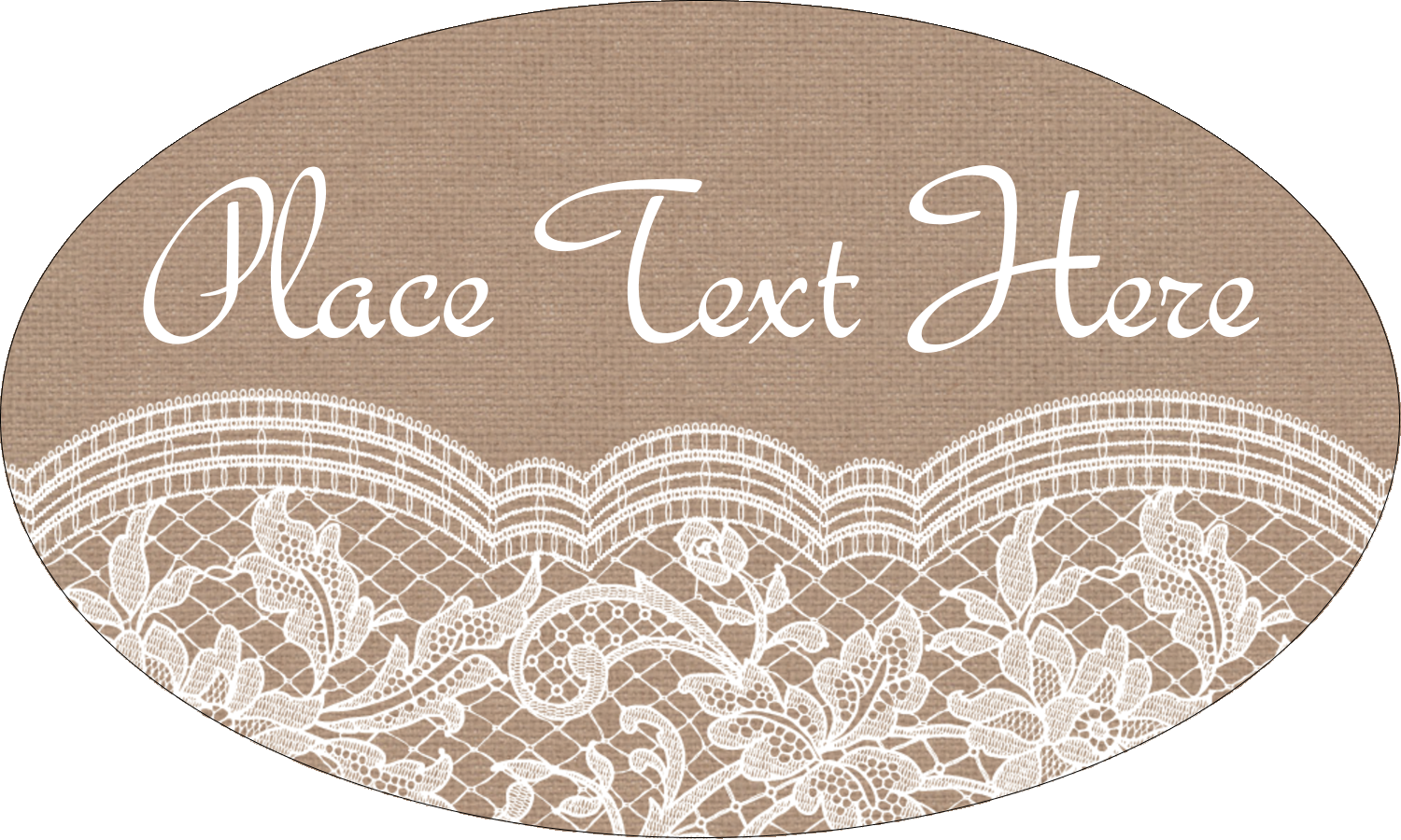 "1½"" x 2½"" Oval Glossy Label - Burlap Lace"