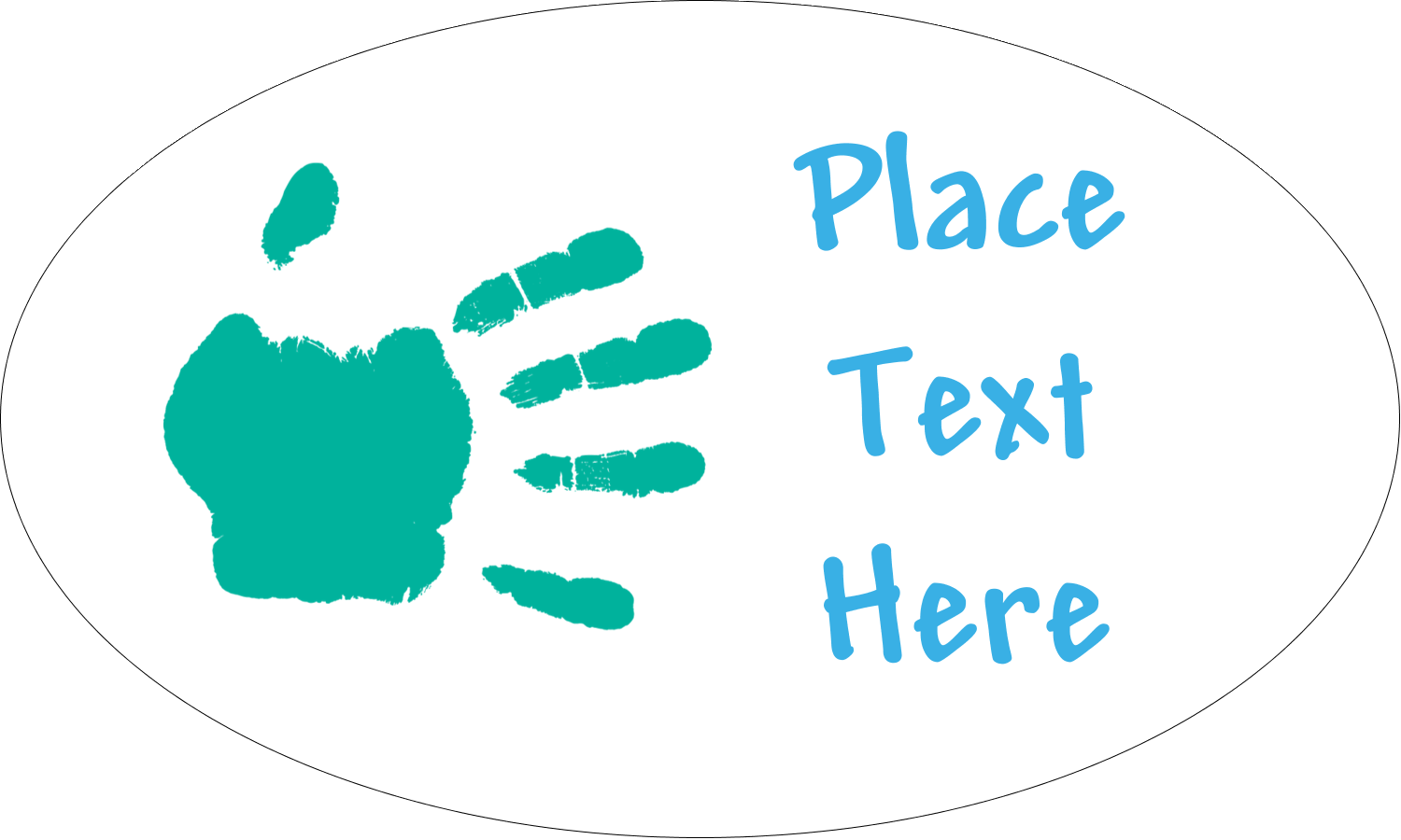 """1½"""" x 2½"""" Oval Glossy Label - Childcare Hands"""