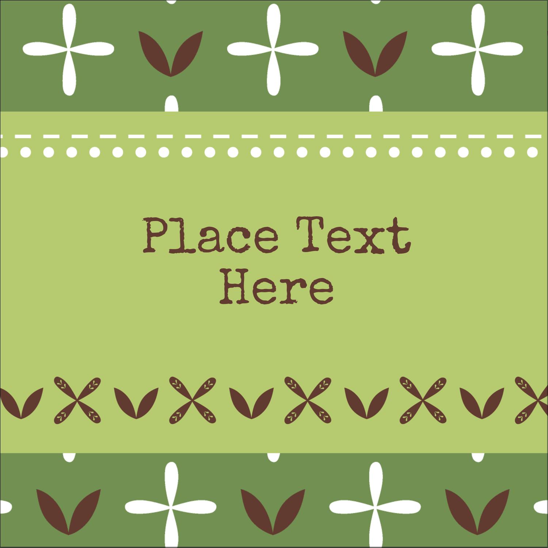 "1½"" x 1½"" Square Label - Geometric Green Blossoms"