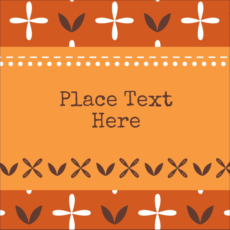"1½"" x 1½"" Square Label - Geometric Orange Blossoms"