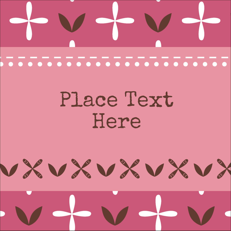 "1½"" x 1½"" Square Label - Geometric Pink Blossoms"