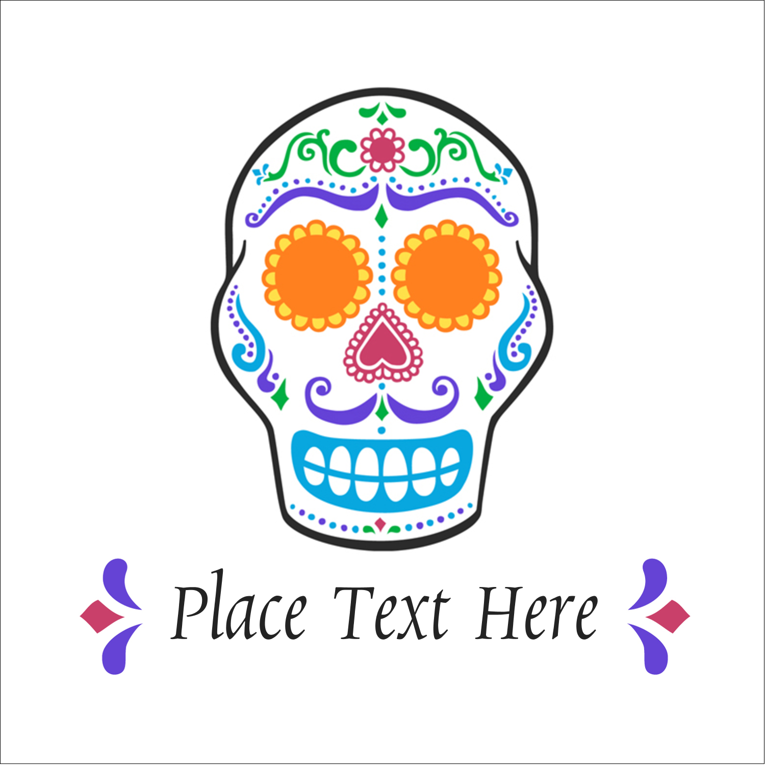 "2"" x 2"" Square Label - Day of the Dead Skull"