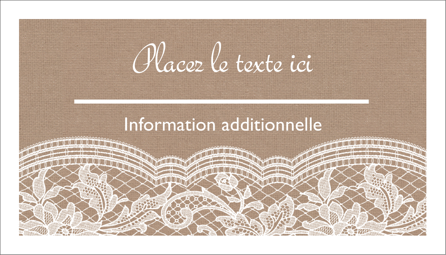 "2"" x 3½"" Carte d'affaire - Dentelle de jute"