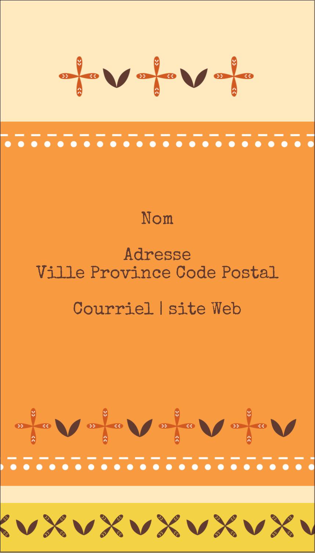 """2"""" x 3½"""" Carte d'affaire - Fleurs orange géométriques"""