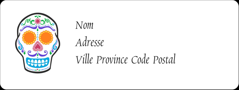 """1½"""" x 4"""" Étiquettes D'Adresse - Le jour du Crâne"""