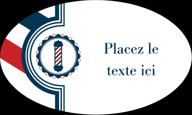 """1½"""" x 2½"""" Étiquettes ovales - Enseigne de barbier audacieuse"""