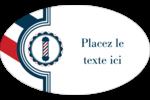 Enseigne de barbier audacieuse Étiquettes ovales - gabarit prédéfini. <br/>Utilisez notre logiciel Avery Design & Print Online pour personnaliser facilement la conception.