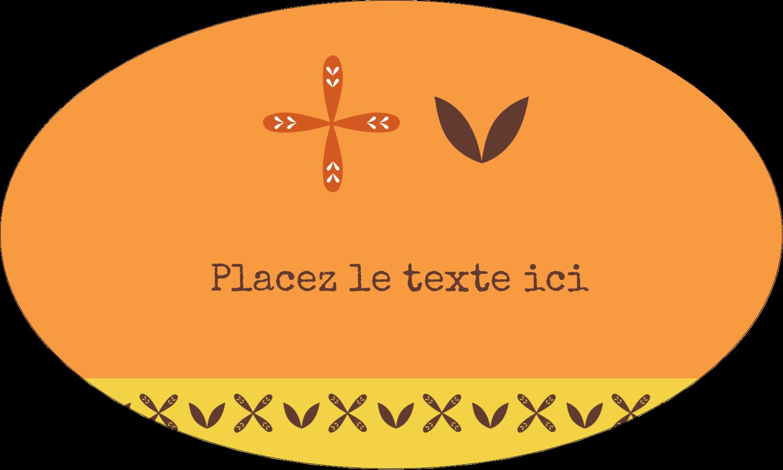 """1½"""" x 1½"""" Étiquettes carrées - Fleurs orange géométriques"""