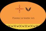 Fleurs orange géométriques Étiquettes carrées - gabarit prédéfini. <br/>Utilisez notre logiciel Avery Design & Print Online pour personnaliser facilement la conception.