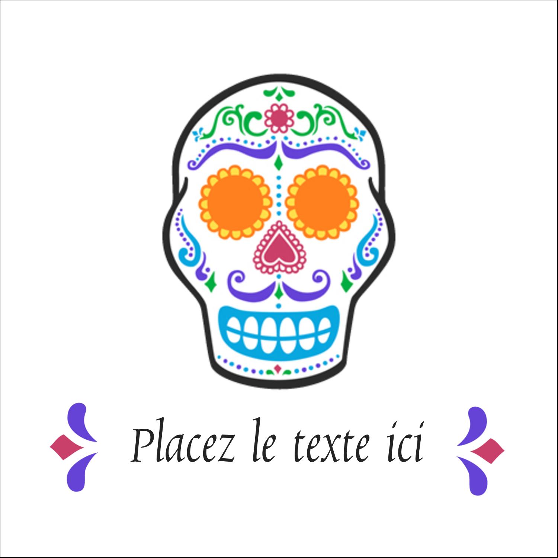 """1½"""" x 1½"""" Étiquettes carrées - Le jour du Crâne"""