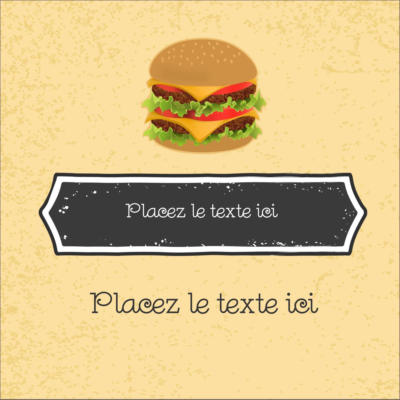 """2"""" x 2"""" Étiquettes carrées - Hamburger"""