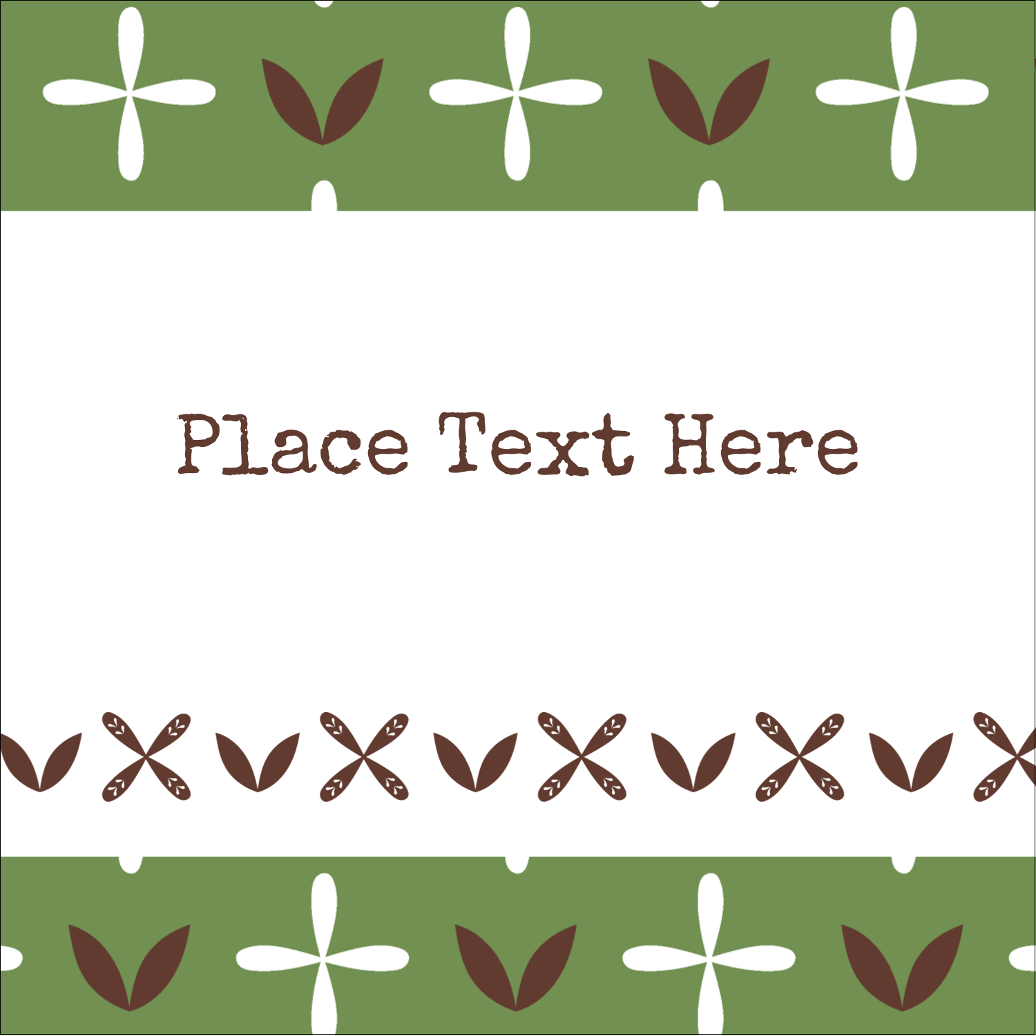 "2"" x 2"" Sqaure Label - Geometric Green Blossoms"