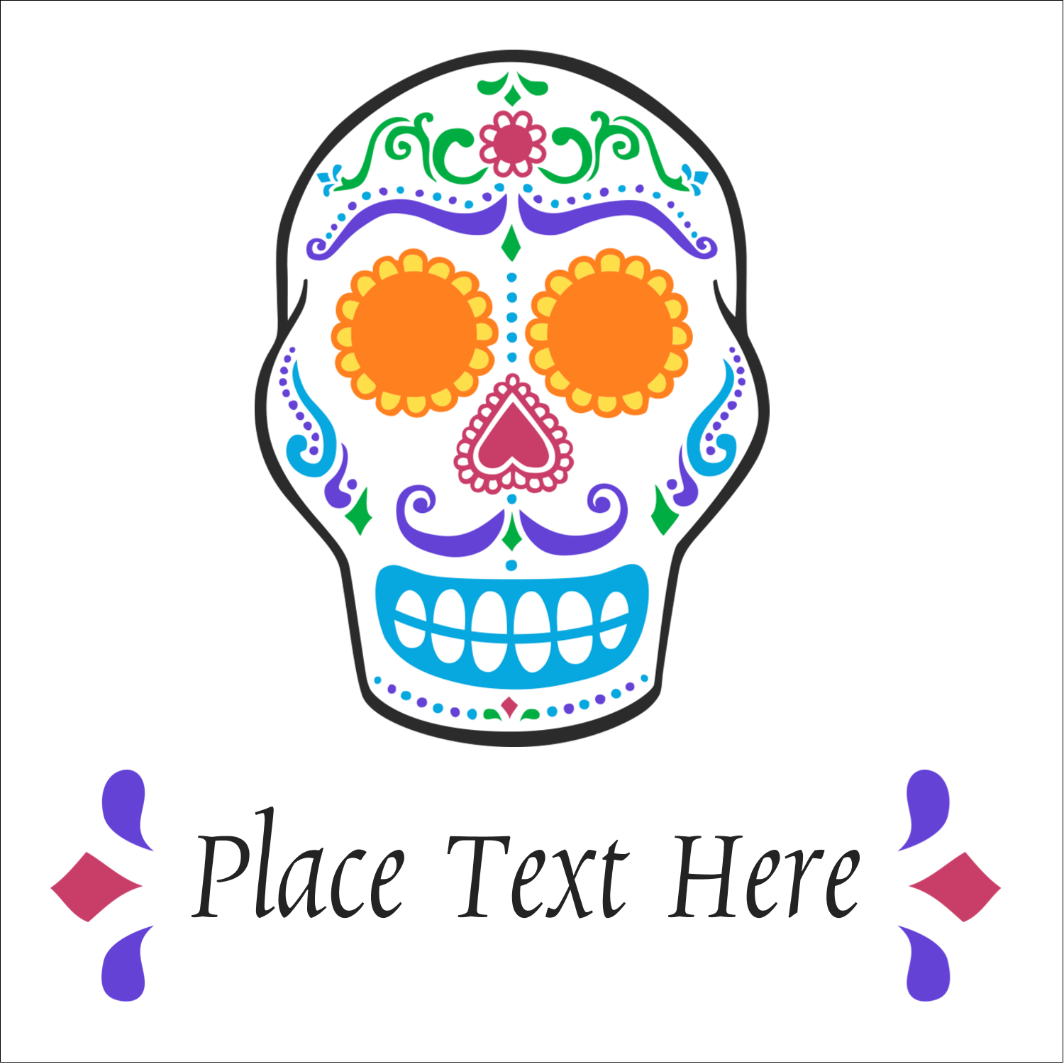 "2"" x 2"" Sqaure Label - Day of the Dead Skull"