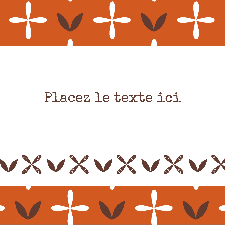 """9¾"""" x 1¼"""" Étiquettes enveloppantes - Fleurs orange géométriques"""