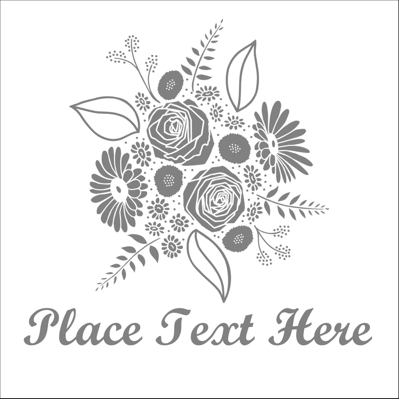 """2"""" x 2"""" Sqaure Label - Floral Bouquet"""
