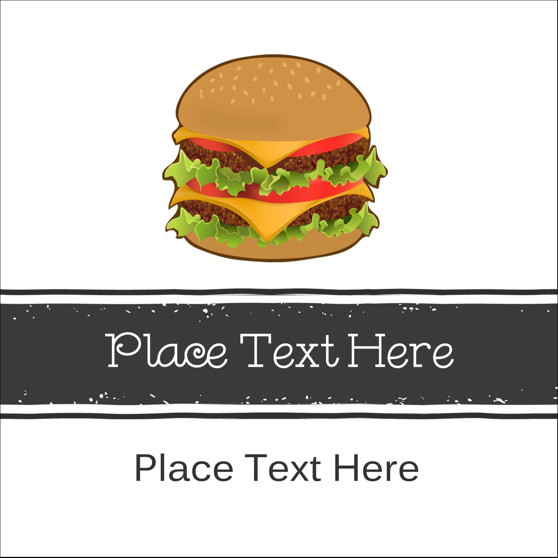 "2"" x 2"" Sqaure Label - Burger"