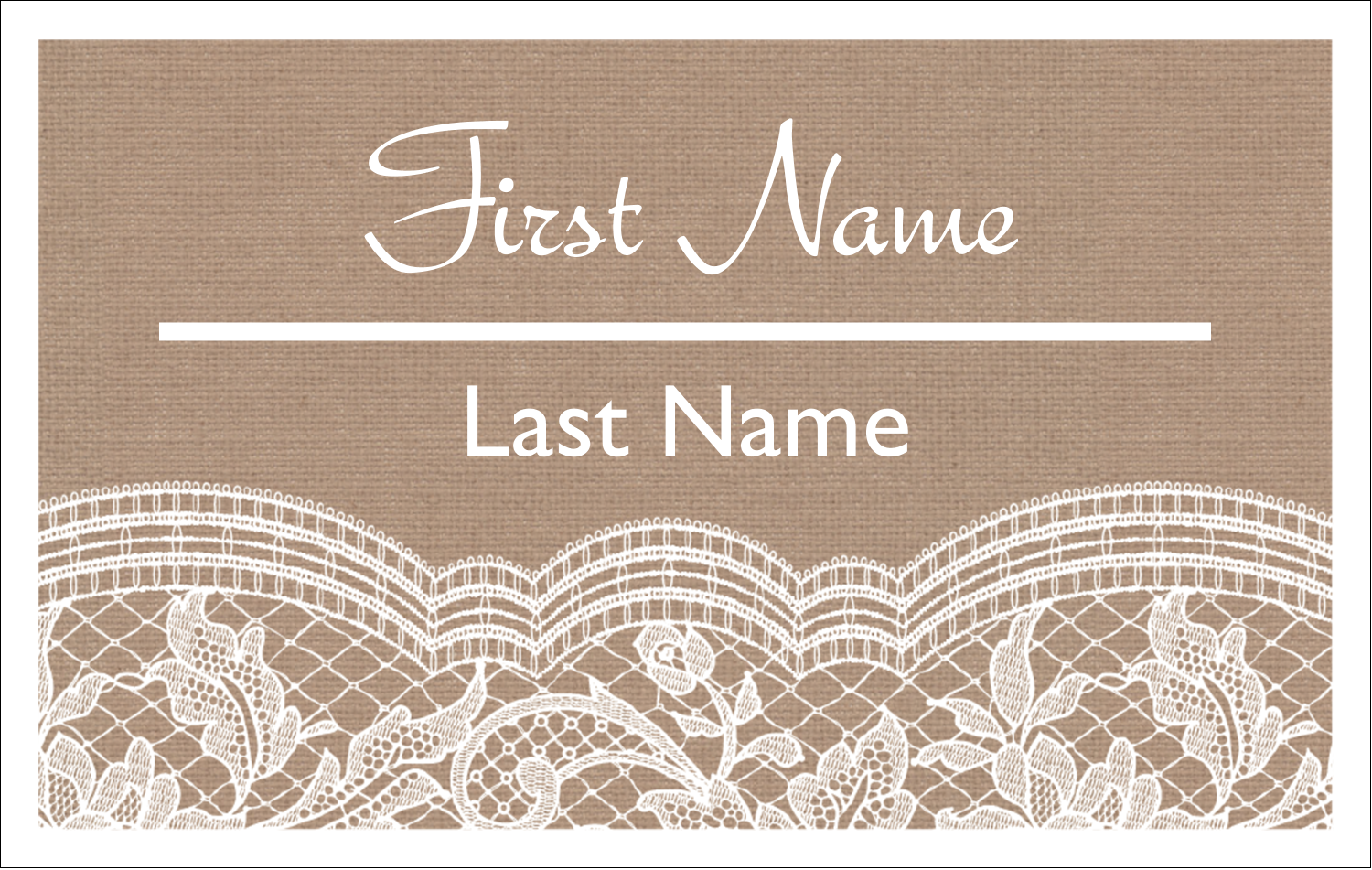 2¼ x 3½ Name Tags - Burlap Lace