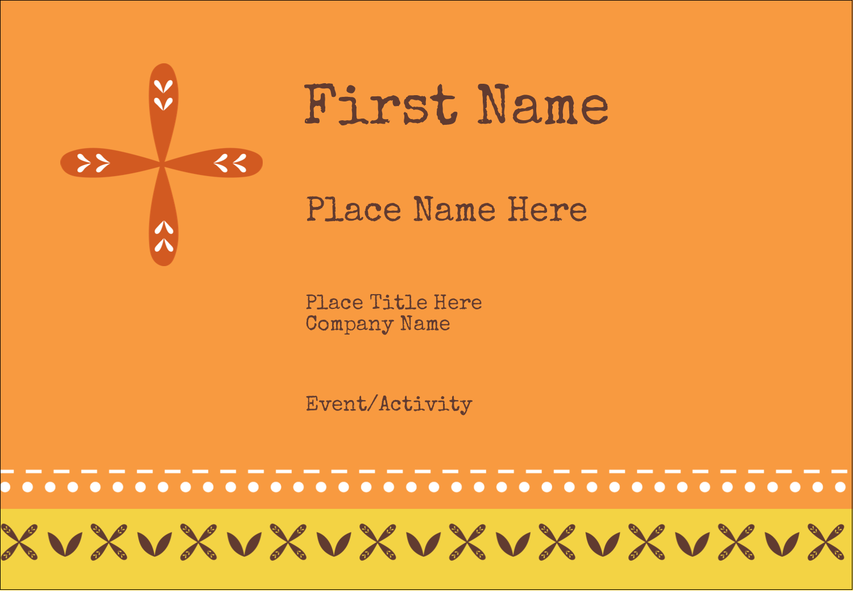 "3⅜"" x 2⅓"" Name Badge - Geometric Orange Blossoms"