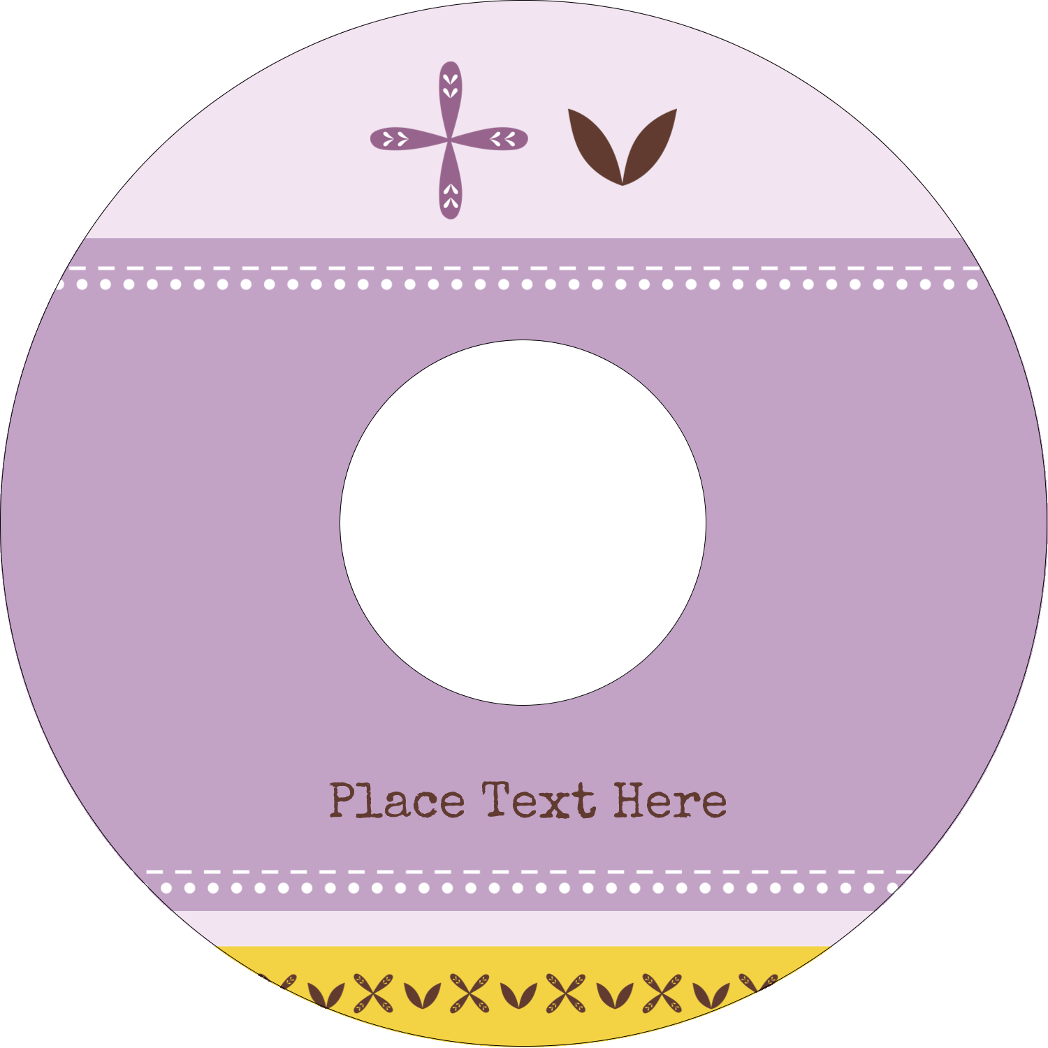 "4.65"" CD-DVD Label - Geometric Lavender Blossoms"