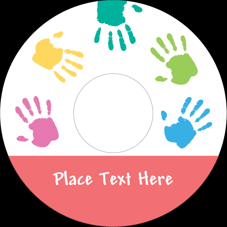 "4.65"" CD-DVD Label - Childcare Hands"