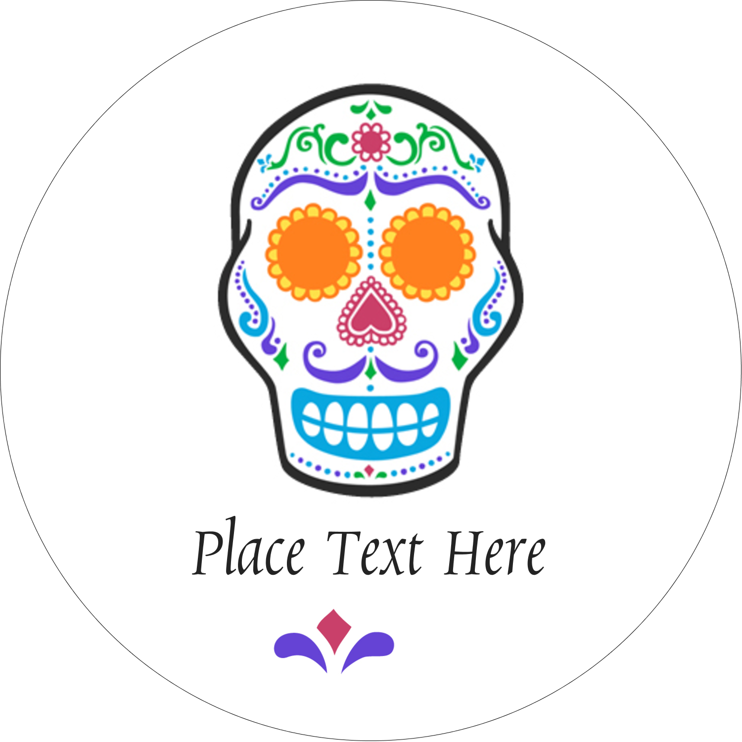 "2"" Round Label - Day of the Dead Skull"