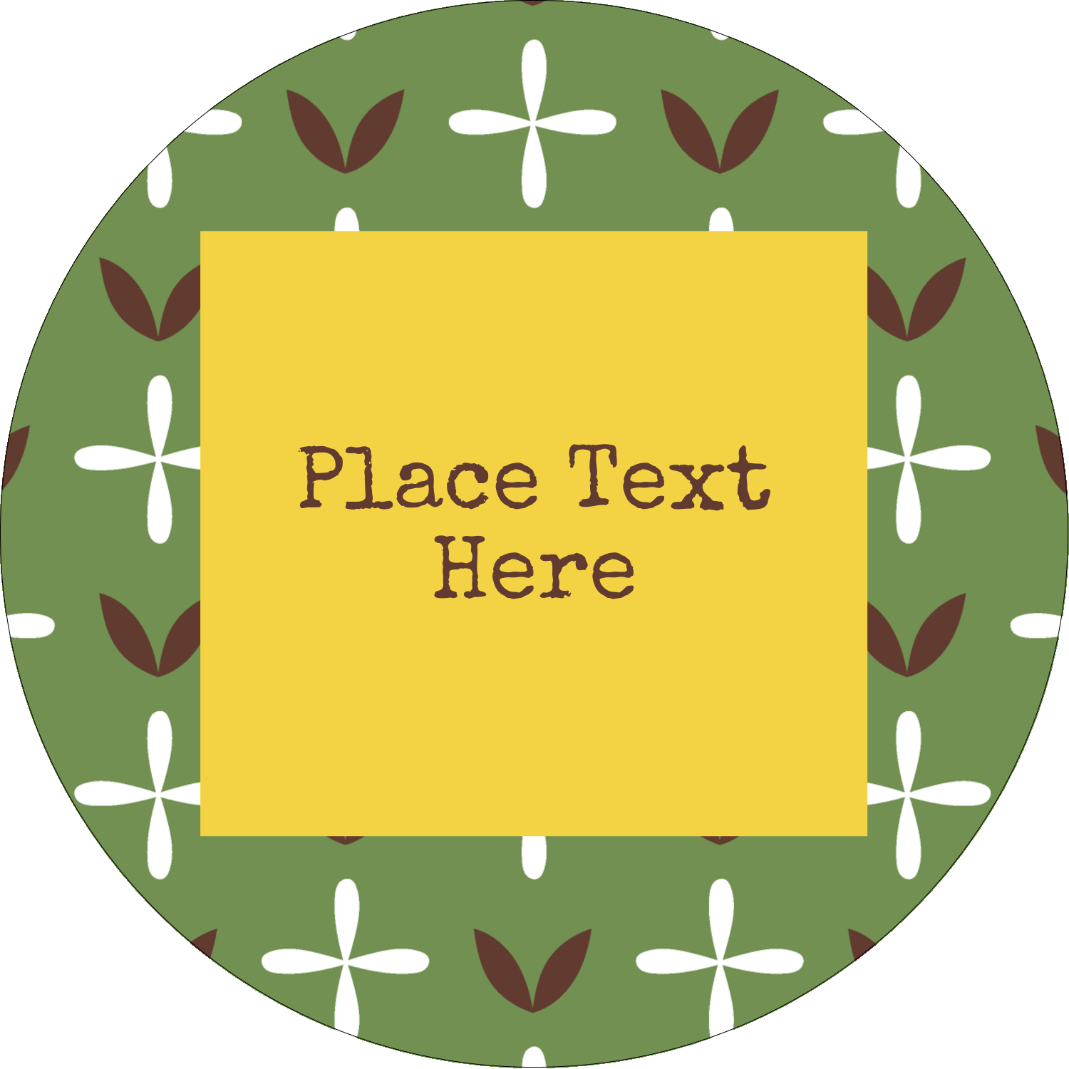 "2"" Round Label - Geometric Green Blossoms"
