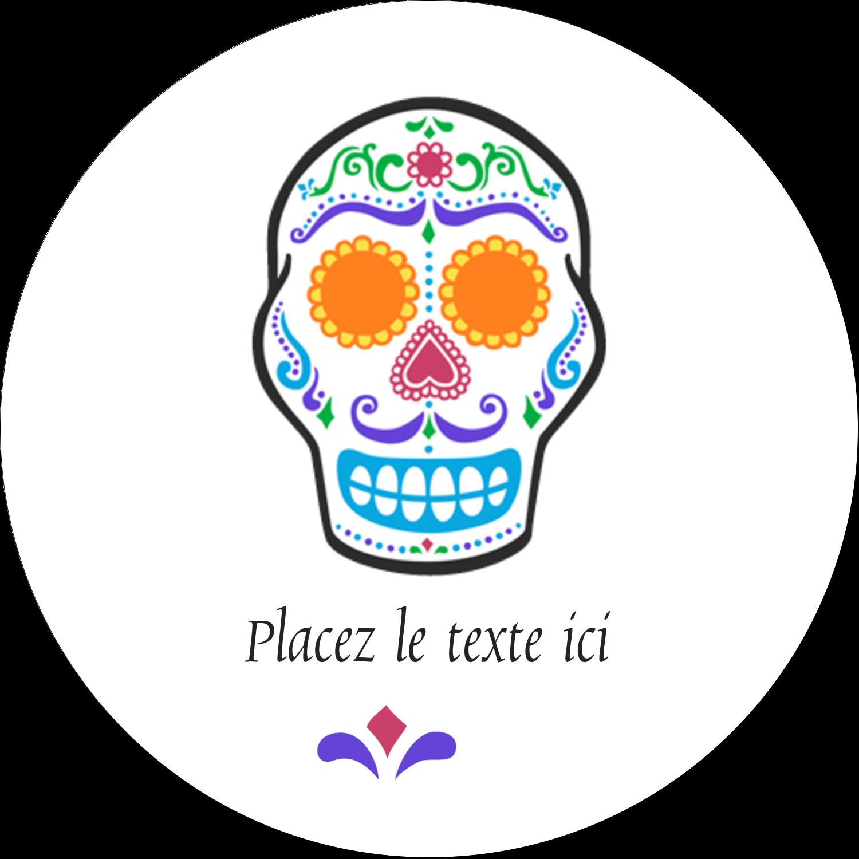 """2½"""" Diameter Étiquettes rondes - Le jour du Crâne"""