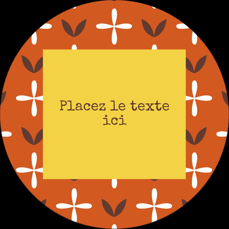 """2½"""" Diameter Étiquettes rondes - Fleurs orange géométriques"""