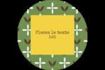 Fleurs vertes géométriques Étiquettes rondes - gabarit prédéfini. <br/>Utilisez notre logiciel Avery Design & Print Online pour personnaliser facilement la conception.