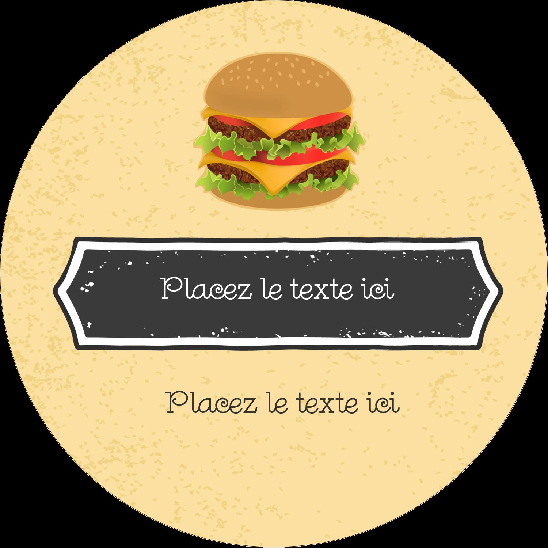 """2½"""" Diameter Étiquettes rondes - Hamburger"""