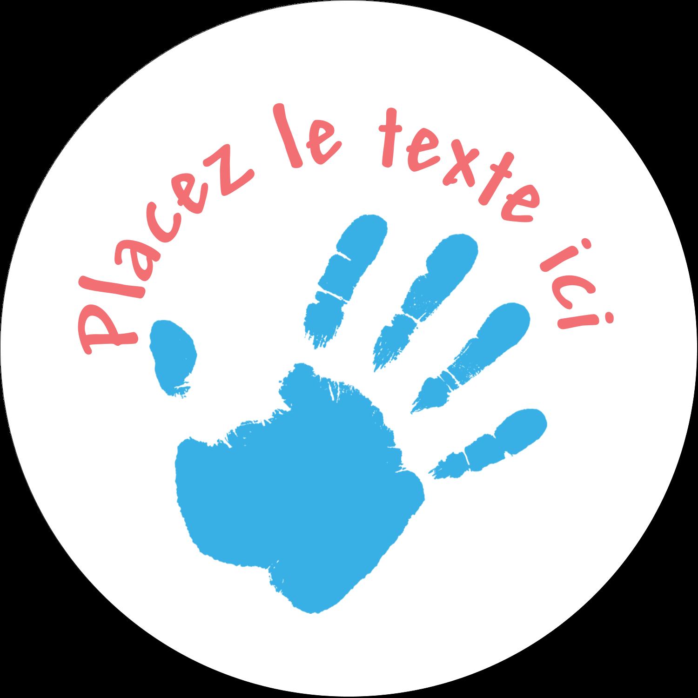 """2½"""" Diameter Étiquettes rondes - Mains enfantines"""