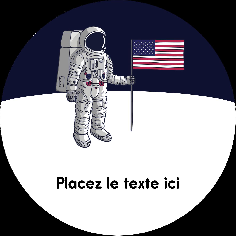"""3"""" x 2¼"""" Étiquettes arrondies - Astronaute"""