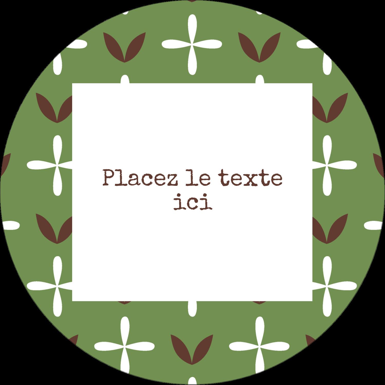 """3"""" x 2¼"""" Étiquettes arrondies - Fleurs vertes géométriques"""