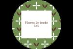 Fleurs vertes géométriques Étiquettes arrondies - gabarit prédéfini. <br/>Utilisez notre logiciel Avery Design & Print Online pour personnaliser facilement la conception.
