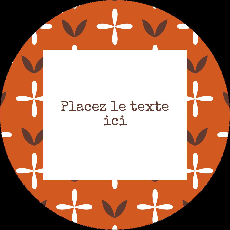 """3"""" x 2¼"""" Étiquettes arrondies - Fleurs orange géométriques"""