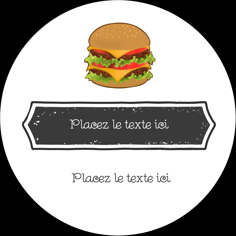 "3"" x 2¼"" Étiquettes arrondies - Hamburger"