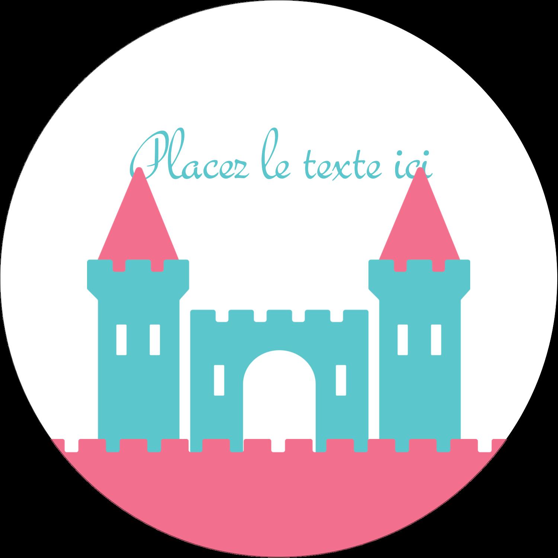 """3"""" x 2¼"""" Étiquettes arrondies - Château"""