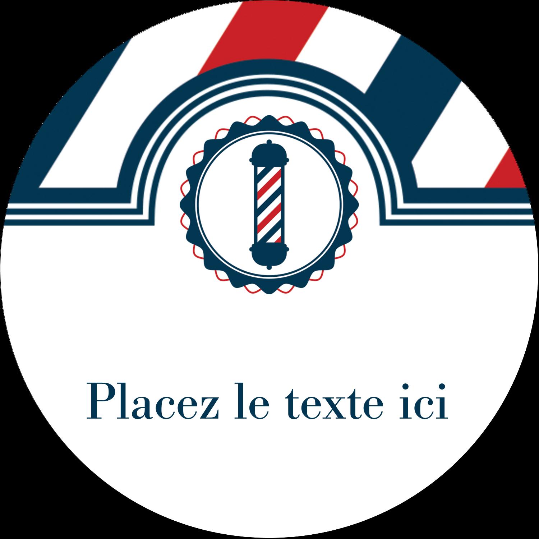 """2½"""" Diameter Étiquettes rondes - Enseigne de barbier audacieuse"""