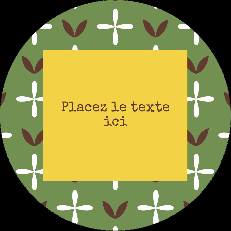 """3-7/16"""" x 15/16"""" Étiquettes de classement - Fleurs vertes géométriques"""