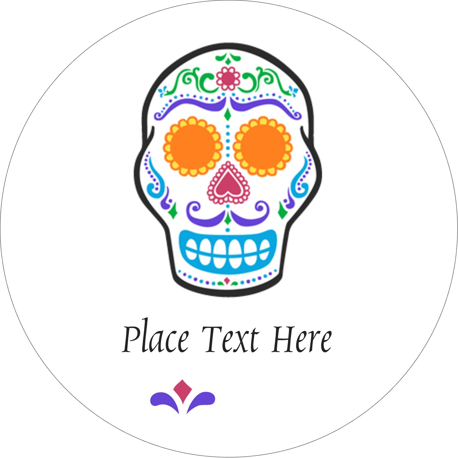 "2½"" Round Label - Day of the Dead Skull"