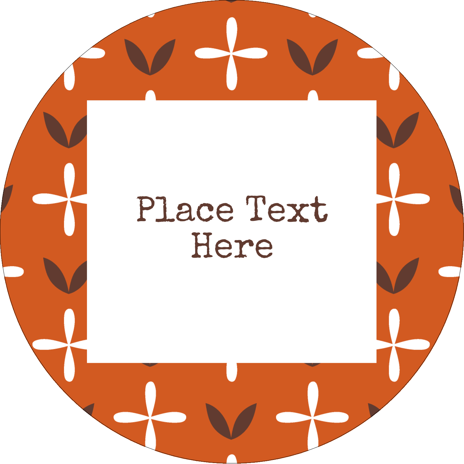 "2½"" Round Label - Geometric Orange Blossoms"