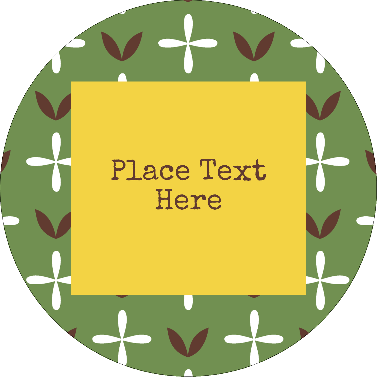 "2½"" Round Label - Geometric Green Blossoms"