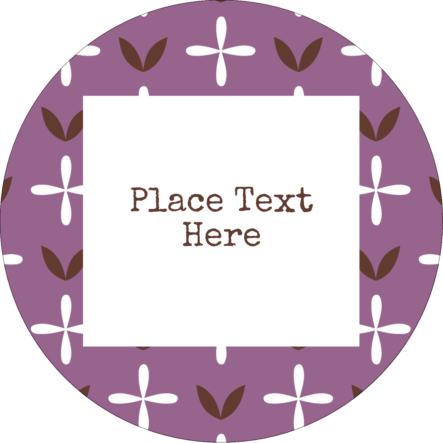 "2½"" Round Label - Geometric Lavender Blossoms"