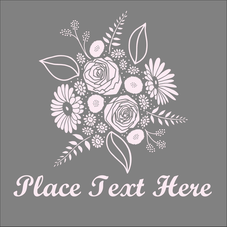 """2"""" x 2"""" Square Label - Floral Bouquet"""