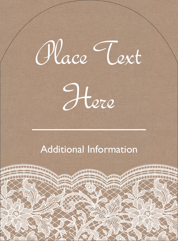 """4¾"""" x 3½"""" Arched Label - Burlap Lace"""