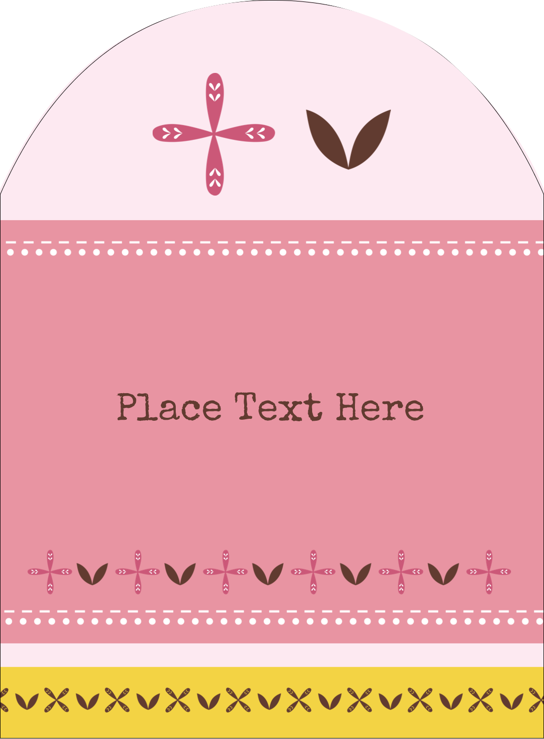 """4¾"""" x 3½"""" Arched Label - Geometric Pink Blossoms"""